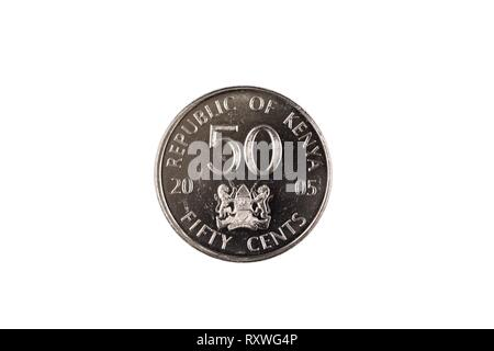 A silver Kenyan fifty cent coin isolated on a white background - Stock Photo
