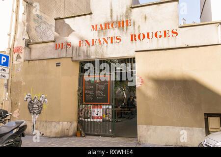 Paris food market - Entrance to the Marche des Enfants Rouges, food market in the Marais district of Paris, France, Europe. - Stock Photo