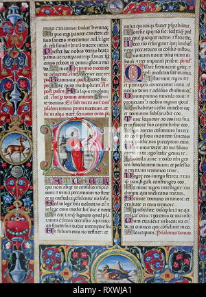 Illuminated page from a Roman Breviary of Ercole d'Este, one of the most beautiful Renaissance manuscripts. - Stock Photo