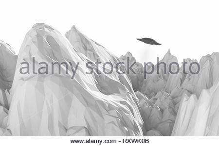 alien spaceship floats between mountains with low polygons on a white background - 3d artwork - Stock Photo