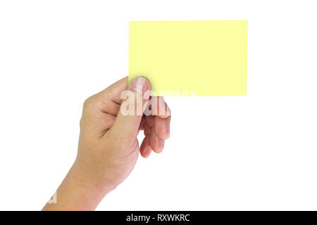 Hand holding yellow space notes on isolate white background. - Stock Photo