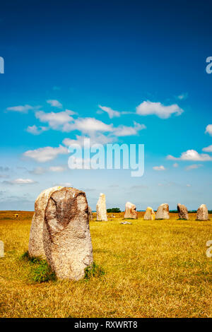 Sweden's most famous standing stones is arranged in the shape of a boat and believed to be the resting place of King Ale. - Stock Photo