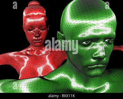 cgi (computer generated image)/ Illustration: Symbolbild: Digitalisierung, Kuenstliche Intelligenz (KI, AI), Cyberspace, Roboter, Bionik, Mann, Frau ( - Stock Photo