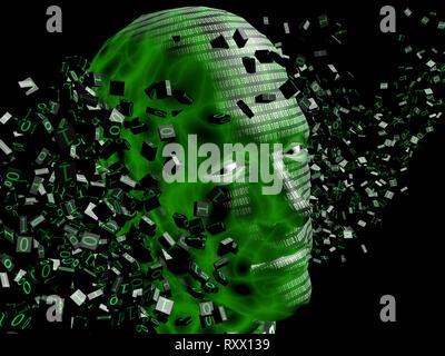 cgi (computer generated image)/ Illustration: Symbolbild: Digitalisierung, Kuenstliche Intelligenz (KI, AI), Cyberspace, Roboter, Bionik (nur fuer red - Stock Photo