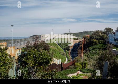 Landscape from Tijuana of the border Mexico-USA, - Stock Photo