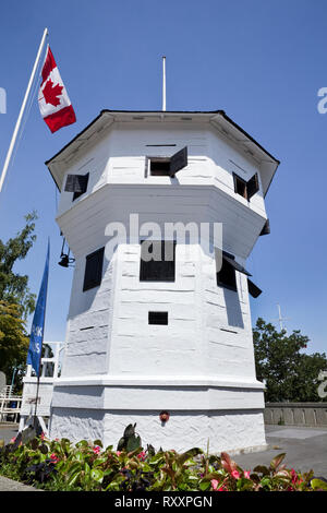 Nanaimo Bastion is a historic fortification and landmark that currently serves as a tourist information office. Nanaimo, Vancouver Island, British Columbia, Canada - Stock Photo