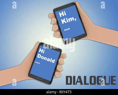 3D illustration of two hands holding cellulr phones, isolated on pale blue gradient, with the script DIALOGUE on the background. The screen of one cel - Stock Photo