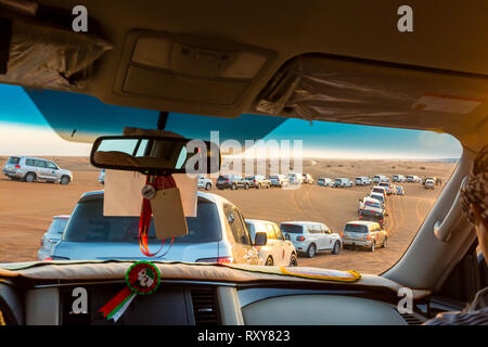 Dubai Desert Safari, also called Dune Bashing in Dubai, United Arab Emirates - Stock Photo