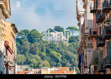 The Cascade Du Casteu waterfall in Castel Hill with cityscape at Nice, France - Stock Photo