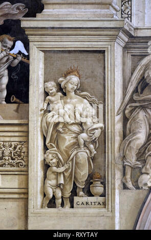 Caritas, detail of Filippino Lippi's frescoes in the Strozzi Chapel of the Santa Maria Novella Principal Dominican church in Florence, Italy - Stock Photo