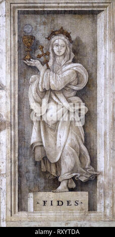 Fides, detail of Filippino Lippi's frescoes in the Strozzi Chapel of the Santa Maria Novella Principal Dominican church in Florence, Italy - Stock Photo