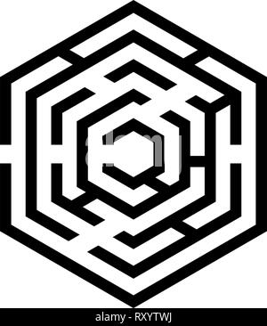 Hexagonal Maze Hexagon maze Labyrinth with six corner icon black color vector illustration flat style simple image - Stock Photo