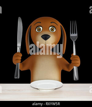 Hungry cartoon dog with empty bowl holds a knife and fork. isolated on black background. 3d rendering - Stock Photo