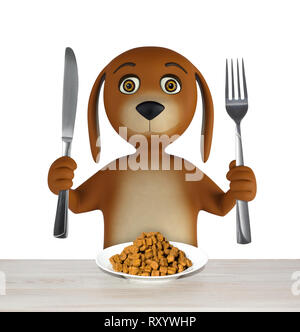 Cartoon dog with bowl of dry food holds a knife and fork. isolated on white background. 3d rendering - Stock Photo