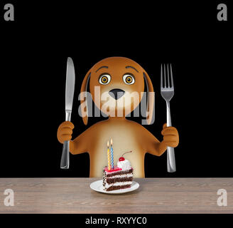 Hungry cartoon dog with cake holds a knife and fork. isolated on black background. 3d rendering - Stock Photo
