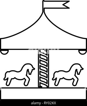 Carousel roundabout merry-go-round Vintage merry-go-round icon black color outline vector illustration flat style image - Stock Photo