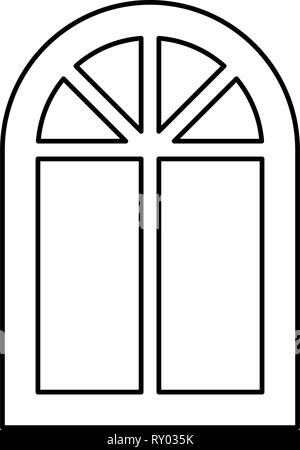 Window frame semi-round at the top Arch window icon black color outline vector illustration flat style image - Stock Photo