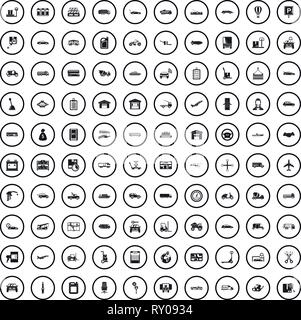 100 transport company icons set, simple style  - Stock Photo