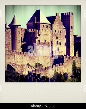 Polaroid effect, walls of the medieval city of Carcassonne, Aude, Occitanie, France, Europe - Stock Photo