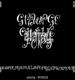 Vector retro font. Capital grunge letters. Chalk textured alphabet on blackboard background. - Stock Photo