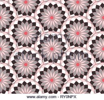seamless tile with geometric floral pattern in silver red shades - Stock Photo