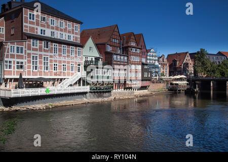 old town of Luneburg on the Ilmenau, Lueneburg, Germany - Stock Photo