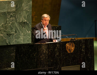 New York, United States. 11th Mar, 2019. New York, NY - March 11, 2019: Secretary-General Antonio Guterres speaks at UN Commission on the status of women 63rd session at United Nations headquarters Credit: lev radin/Alamy Live News - Stock Photo
