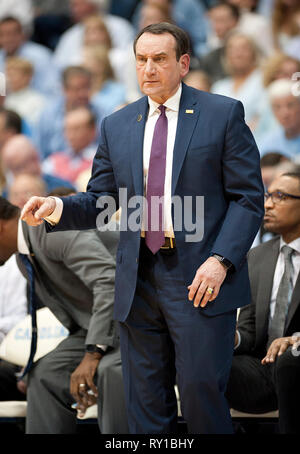 March 9, 2019 - Chapel Hill, North Carolina; USA - Duke Blue Devils Head Coach MIKE KRZYZEWSKI as the University of North Carolina Tar Heels defeated the Duke Blue Devils with a final score of 79-70 as they played mens college basketball at the Dean Smith Center located in Chapel Hill. Copyright 2019 Jason Moore. Credit: Jason Moore/ZUMA Wire/Alamy Live News - Stock Photo
