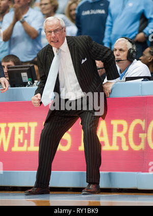 March 9, 2019 - Chapel Hill, North Carolina; USA - North Carolina Tar Heels Head Coach ROY WILLIAMS as the University of North Carolina Tar Heels defeated the Duke Blue Devils with a final score of 79-70 as they played mens college basketball at the Dean Smith Center located in Chapel Hill. Copyright 2019 Jason Moore. Credit: Jason Moore/ZUMA Wire/Alamy Live News - Stock Photo