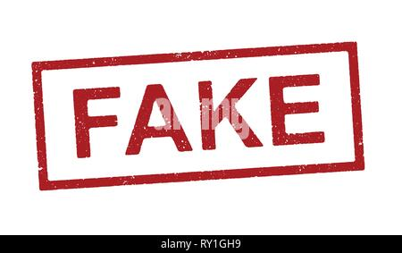 Vector illustration of the word Fake in red ink stamp - Stock Photo