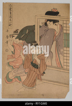 Two Children and a Woman Playing Blind Man's Bluff, 1753-1806. Kitagawa Utamaro (Japanese, 1753?-1806). Color woodblock print; sheet: 37.4 x 26.4 cm (14 3/4 x 10 3/8 in - Stock Photo