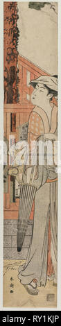 Young Woman Standing Beside a Pine Tree Within the Precincts of a Temple, c. late 1780s. Katsukawa Shuncho (Japanese). Color woodblock print; sheet: 61 x 11.2 cm (24 x 4 7/16 in - Stock Photo