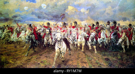 Scotland Forever!, Battle of Waterloo painting, 1881 by Elizabeth Thomson (Lady Butler) - Stock Photo