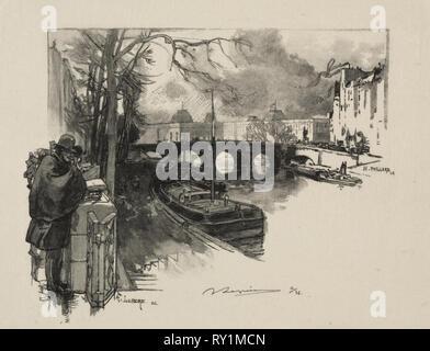 Petit bras de Seine au Pont Neuf. Auguste Louis Lepère (French, 1849-1918). Wood engraving - Stock Photo