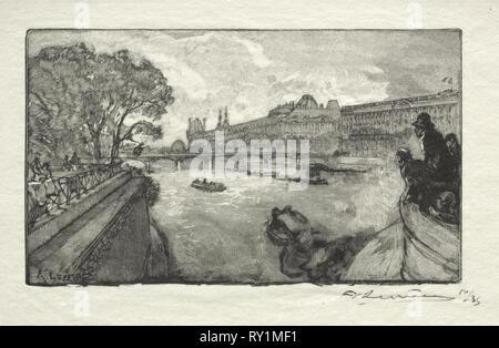 Le Louvre, vu du Pont Neuf, 1890. Auguste Louis Lepère (French, 1849-1918). Wood engraving - Stock Photo