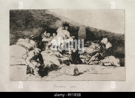 The Horrors of War:  These Too. Francisco de Goya (Spanish, 1746-1828). Etching - Stock Photo