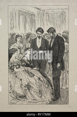 Much Ado about Nothing, 1866. George Louis Palmella Busson Du Maurier (British, 1834-1896). Wood engraving - Stock Photo