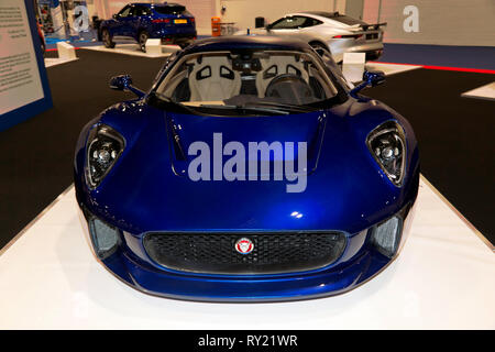 Front  view of a Jaguar C-X75  hybrid-electric, 2-seat, concept car produced by Jaguar Cars in partnership with Formula One team Williams - Stock Photo