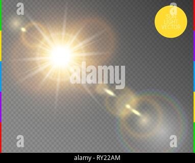 Vector transparent sunlight special lens flare light effect. Isolated sun flash rays and spotlight. Golden front translucent sunlight background. Blur - Stock Photo