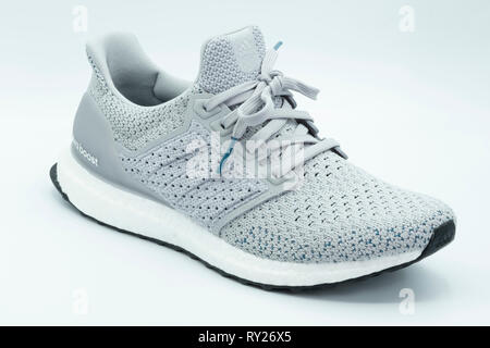 Adidas Ultra Boost Clima grey sneaker cutout isolated on white background - Stock Photo