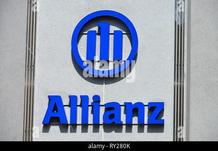 Logo, Allianz Versicherung, Kottbusser Damm, Neukoelln, Berlin, Deutschland - Stock Photo