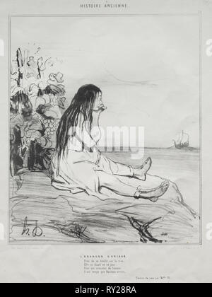 published in le Charivari (no du 4 Septembre 1842): Ancient History, plate 24: The Abandonment of Ariadne, 4 September 1842. Honoré Daumier (French, 1808-1879), Aubert. Lithograph; sheet: 34.3 x 26.7 cm (13 1/2 x 10 1/2 in.); image: 23.9 x 20 cm (9 7/16 x 7 7/8 in - Stock Photo