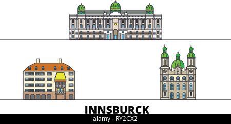 Austria, Innsburck flat landmarks vector illustration. Austria, Innsburck line city with famous travel sights, skyline, design.  - Stock Photo
