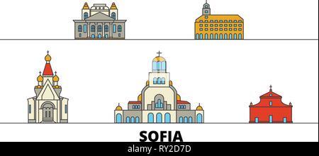 Bulgaria, Sofia flat landmarks vector illustration. Bulgaria, Sofia line city with famous travel sights, skyline, design.  - Stock Photo
