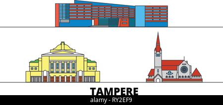 Finland, Tampere flat landmarks vector illustration. Finland, Tampere line city with famous travel sights, skyline, design.  - Stock Photo