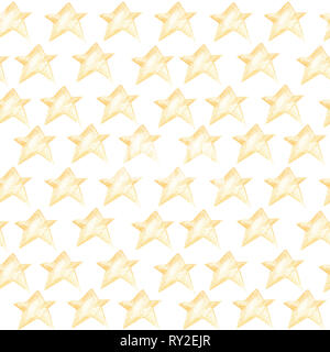 Seamless pattern with yellow stars on a white background. - Stock Photo