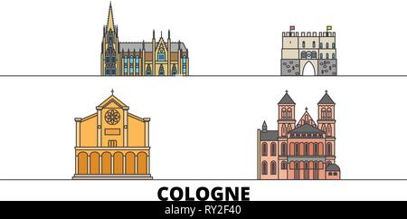 Germany, Cologne flat landmarks vector illustration. Germany, Cologne line city with famous travel sights, skyline, design.  - Stock Photo