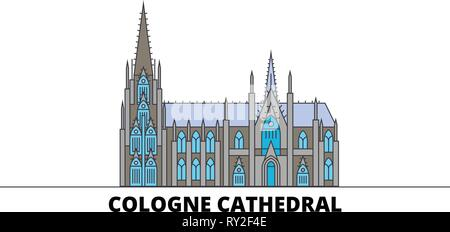 Germany, Cologne Cathedral flat landmarks vector illustration. Germany, Cologne Cathedral line city with famous travel sights, skyline, design.  - Stock Photo