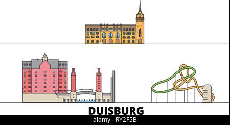 Germany, Duisburg flat landmarks vector illustration. Germany, Duisburg line city with famous travel sights, skyline, design.  - Stock Photo