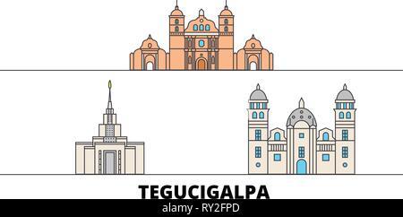 Honduras, Tegucigalpa flat landmarks vector illustration. Honduras, Tegucigalpa line city with famous travel sights, skyline, design.  - Stock Photo